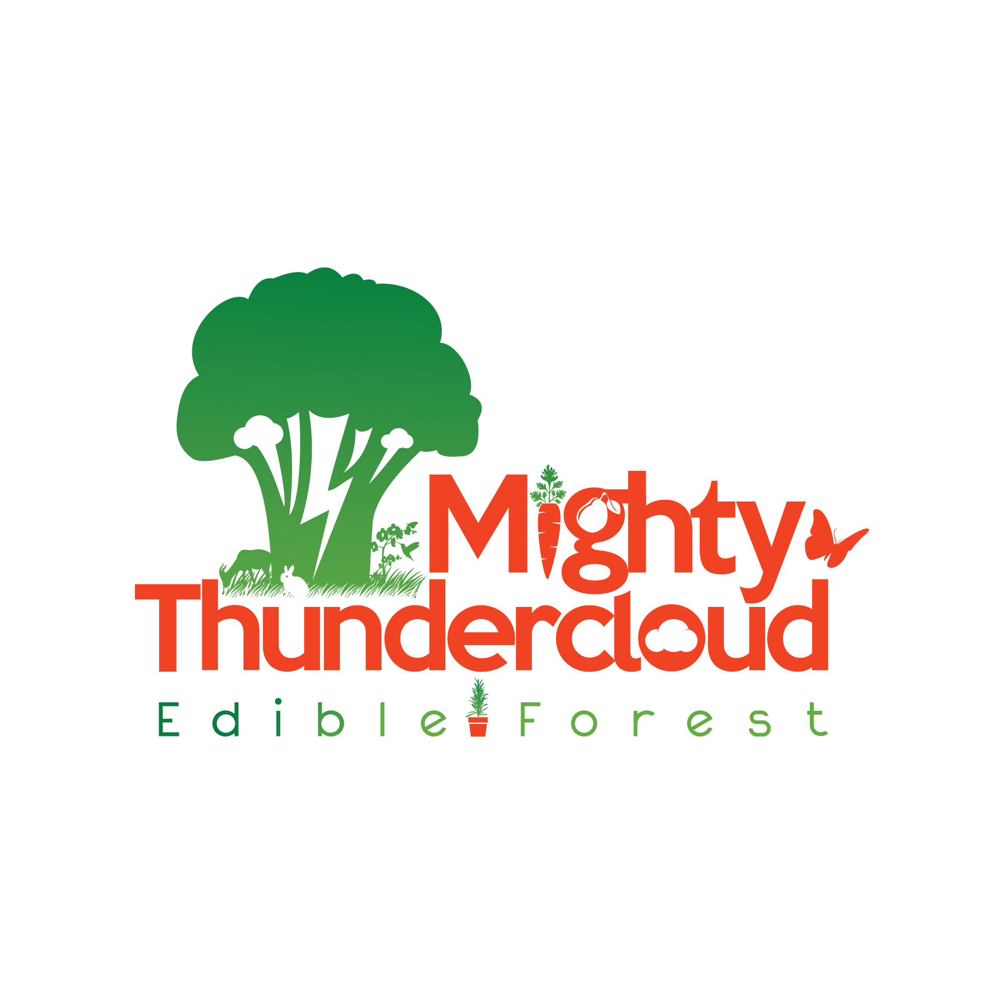 Create the logo that will help improve people and planet for Mighty Thundercloud Edible Forest!