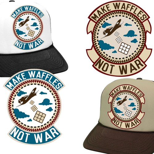 """Make Waffles Not War"" Trucker Hat Designs"