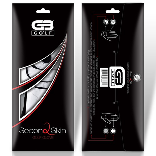 Create sleek golf glove packaging for Grip Boost