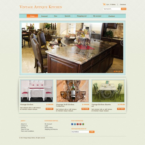 New website design wanted for Vintage Antique Kitchen