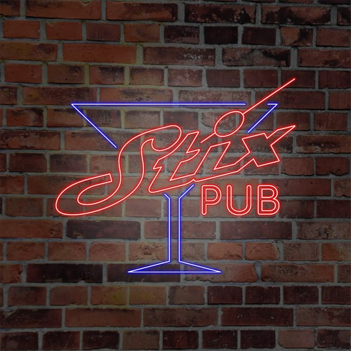 Neon logo for local bar and night club