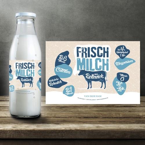 Erstellt ein hübsches Design für Milchflaschen