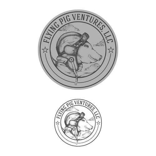 Fun vintage design for Flying Pig Ventures, LLC