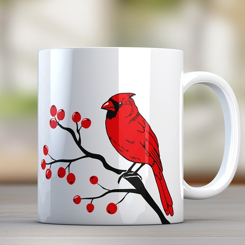 Cardinal bird illustration for drinkware line
