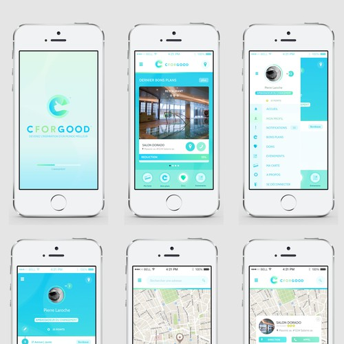 Create 3 amazing mobile app pages for the ChangeMaker CforGood !