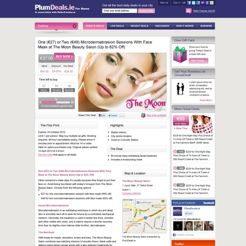 PlumDeals home page desing
