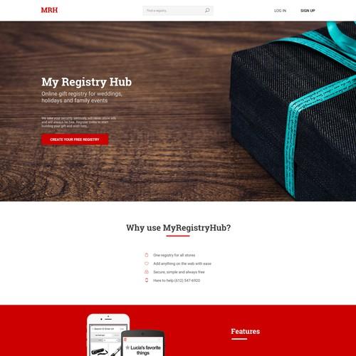 Landing page for MyRegistryHub