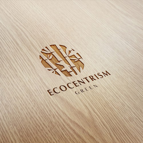 Eco friendly logo for a brand selling wood and bamboo recycled products