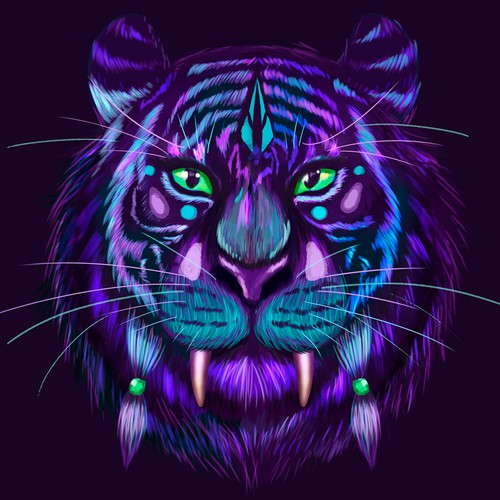 Tiger illustration for  women's clothing