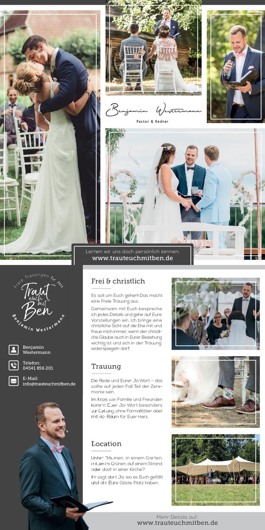 Pastor und Redner braucht einen neuen Flyer der Brautpaare (Freie Trauung) anspricht