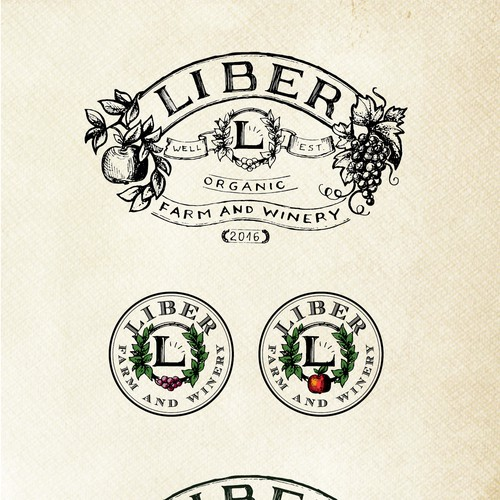 Logo and variants for a farm/winery