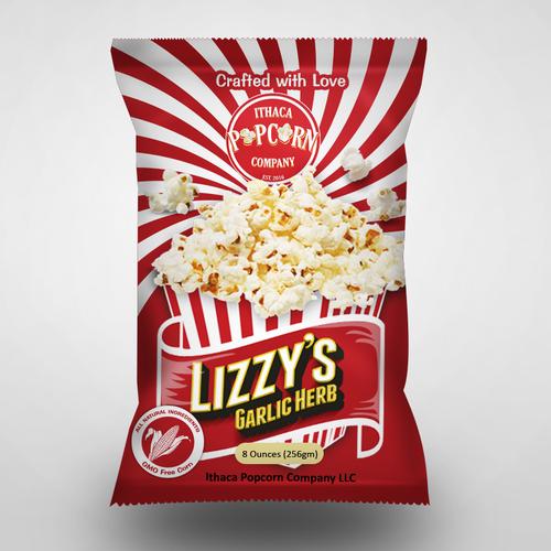 Foil Bag label design for a Popcorn Company