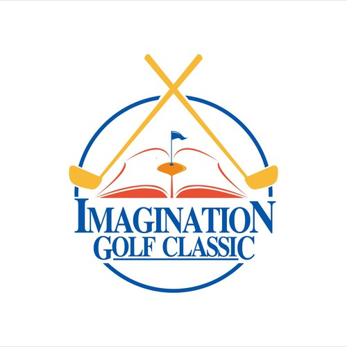 Create a whimsical yet classy logo for the Imagination Golf Classic that incorporates literacy