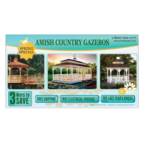 postcard or flyer for Amish Country Gazebos