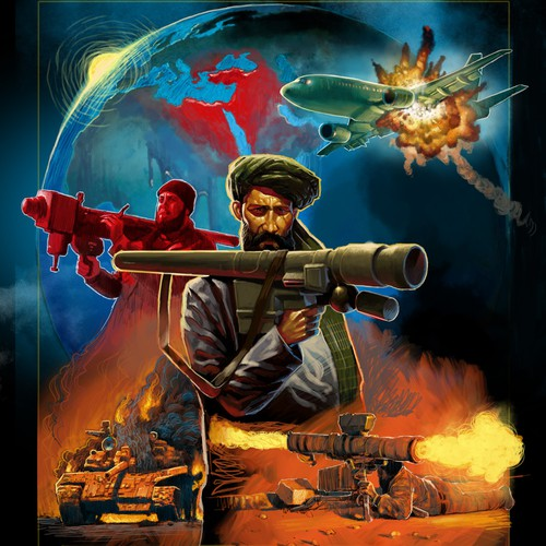Create a Drew Struzan-like cover for a book about man-portable missileweapons proliferation and global security