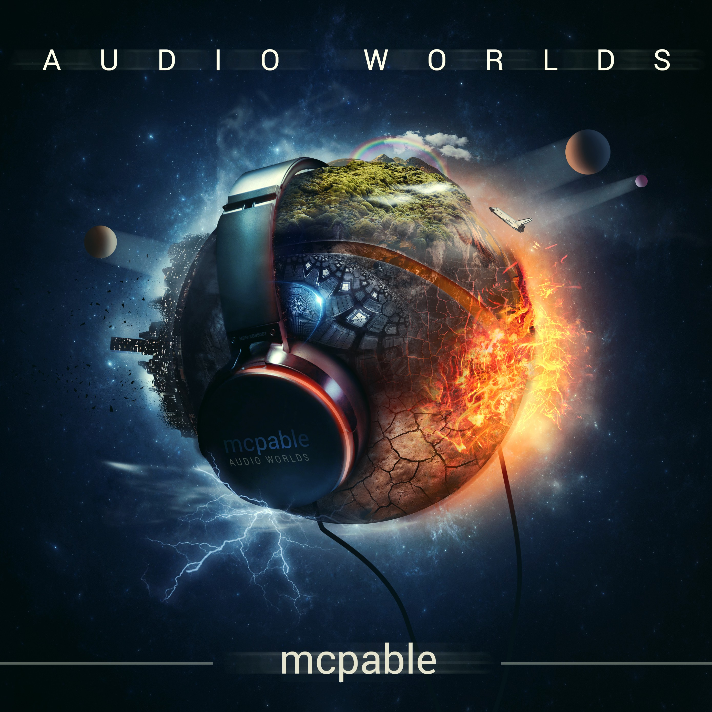 """Design an out-of-this-world album cover for """"Audio Worlds"""" - electronic rock music album"""
