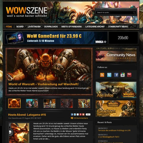 World of Warcraft News and Community WordPress Design