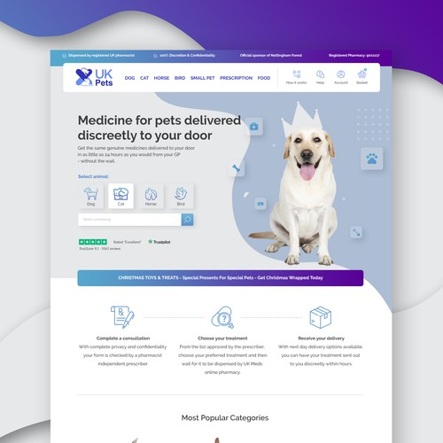 Redesign a leading UK Online pharmacy to become a Online Pets Drug website