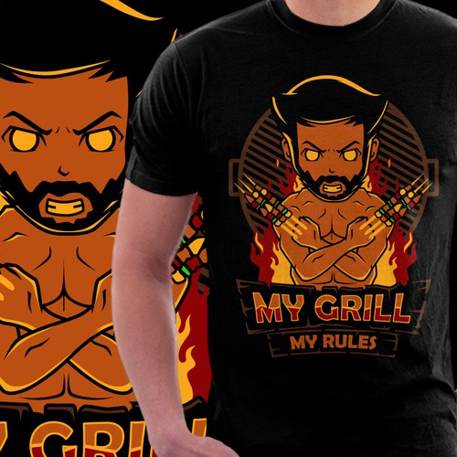 "T-Shirt for Grill/BBQ fans, possible text:""My Grill, my Rules!"""