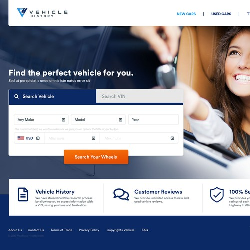Homepage for a vehicle research