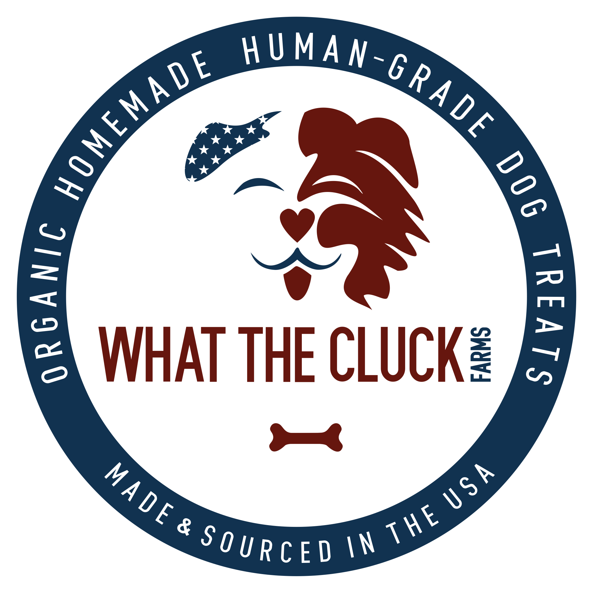 Funny & catchy design for WHAT THE CLUCK farms (organic, homemade, human-grade dog treats)