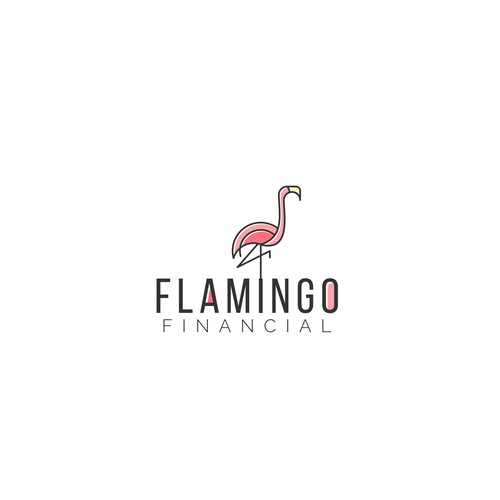 Geometric flamingo logo