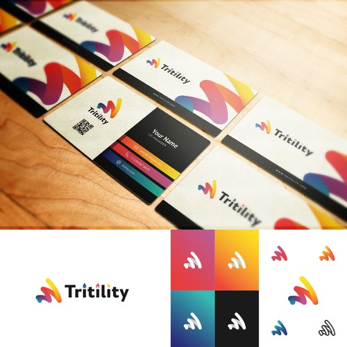 Abstract logo with abstract gradients for Tritility.