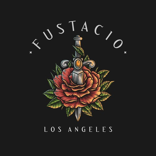 Tattoo style logo for Fustacio