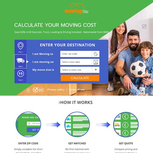 Landing page for moving home company