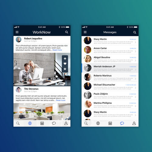 iOS App redesign concept for WorkNow