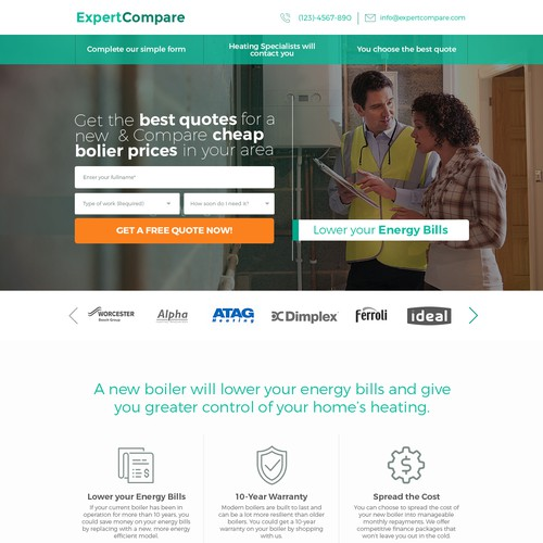 New landing page for boiler lead generation