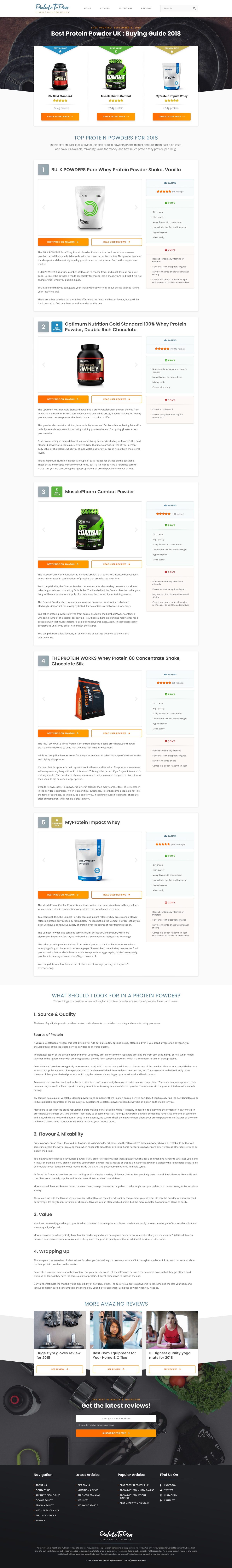 Responsive web page design for review website