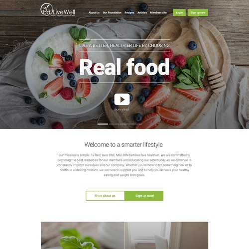Clean, contemporary homepage design for a diet blog redesign.