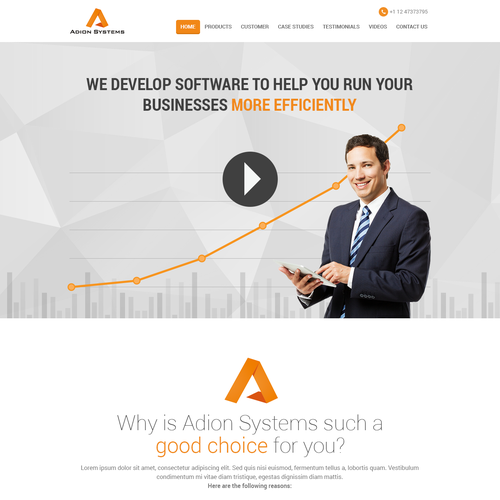 Corporate website design concept for Adion Systems