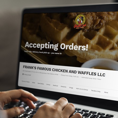 """Ordering page for """"Frank's Famous Chicken And Waffles"""" restaurant."""