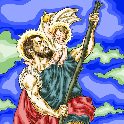 illustration concept for Create An Inspirational Image of St. Christopher