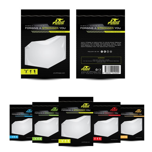 Packaging design for Anvil fitness equipment