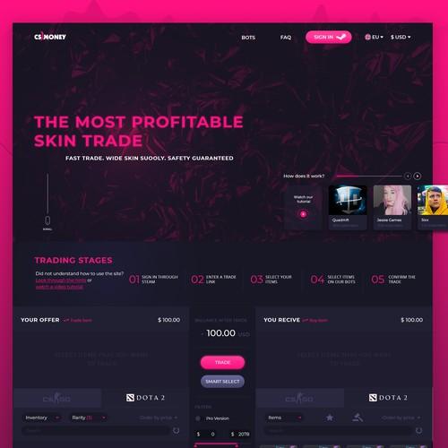 Bold pink concept for skin trade platform