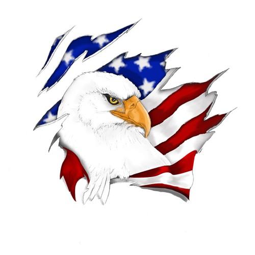 Eagle flag ripped skin tattoo