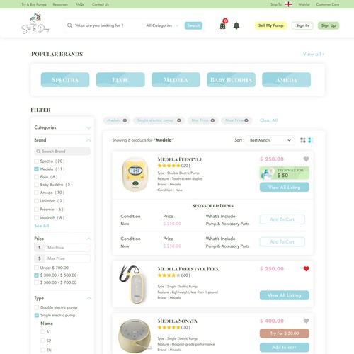 Marketplace for breastpump