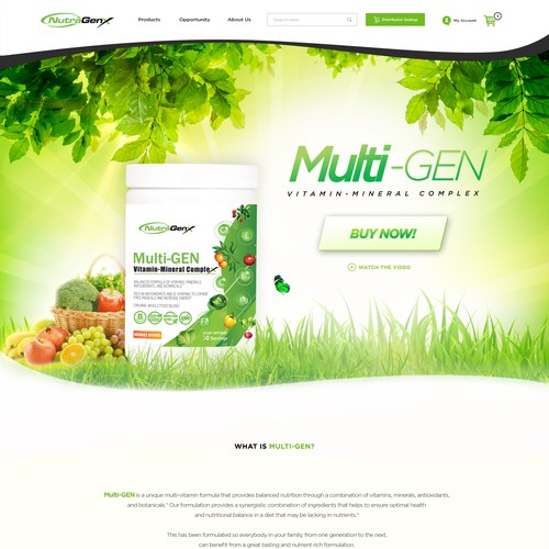 Webpage Design for Multi-Gen by NutraGenX