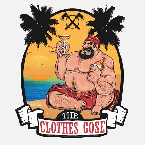 huge lumber jack dude on a beach drinking margaritas and getting naked...Tequila makes his clothes come off