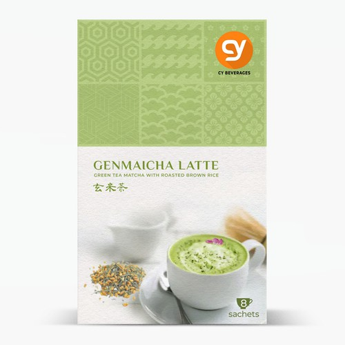 A JAPANESE GenMaiCha Latte retail Box for the premium Class