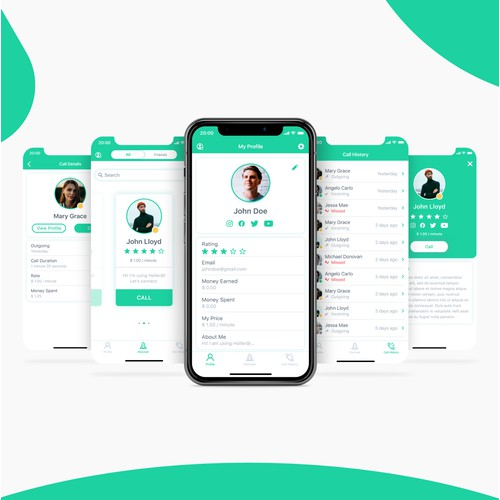 UI design for the video calling mobile app