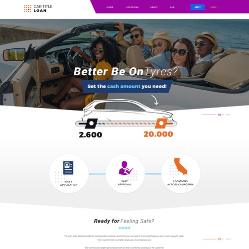 Web Page design for a Car Title Loan Company