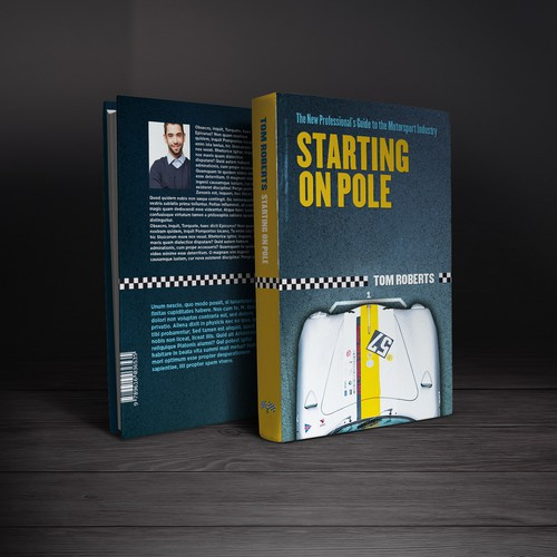 Book cover for Professional guide to the motorsport industry. Blue with a ​silver car and yellow headline.Book cover design for Motorsport industry guide