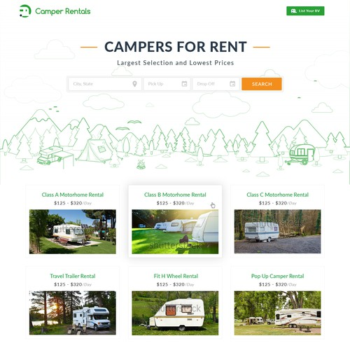 RV Rental Homage and Blog Page Design