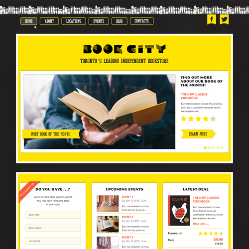 Book store hame page design
