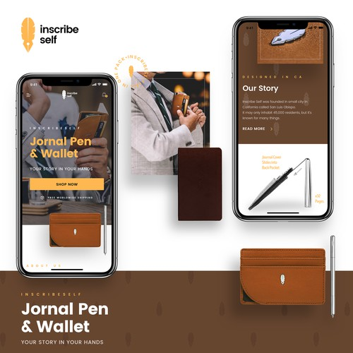 A Journal Pen and Wallet Product Website - Mobile