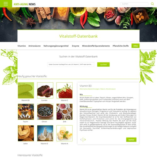 Ingredients page
